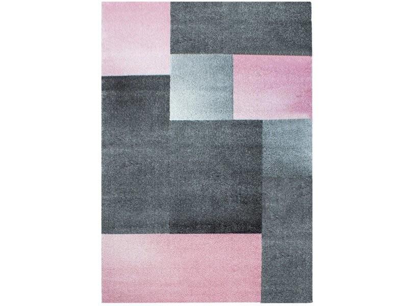 tapis geometrique a carres 160x230cm rose gris