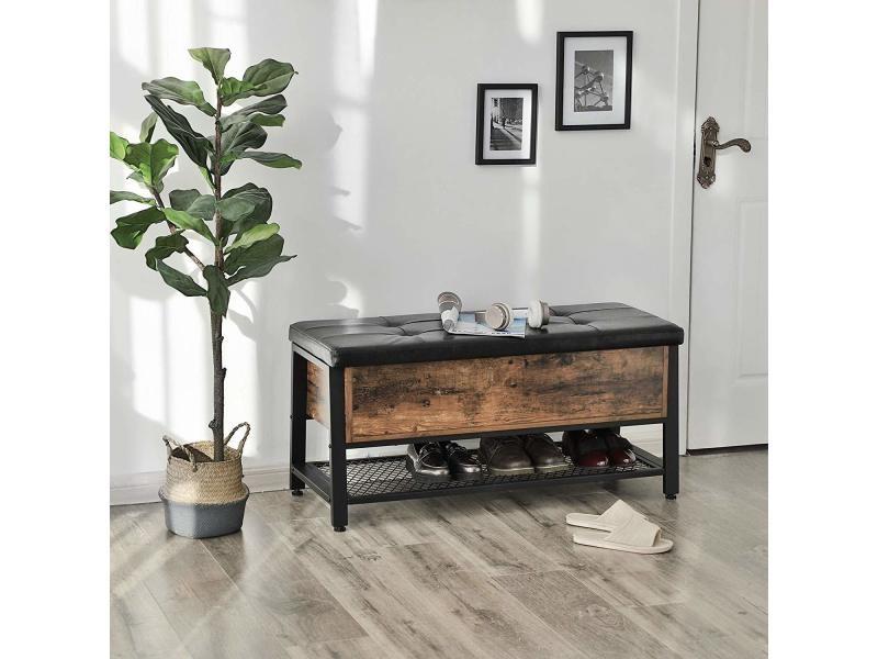 banc a chaussures bout de lit ramizu effet bois fonce noir industriel