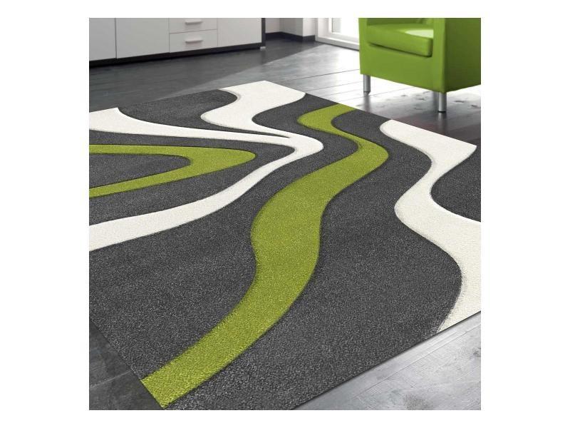 tapis moderne et graphique diamond 760 vert blanc gris 80 x 150 cm