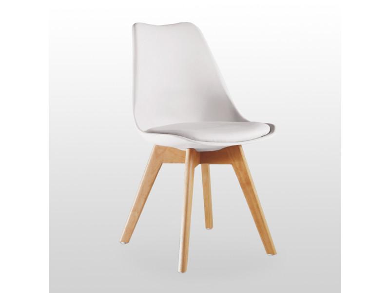 chaise scandinave blanche lorenzo assise rembourree salle a manger cuisine ou bureau