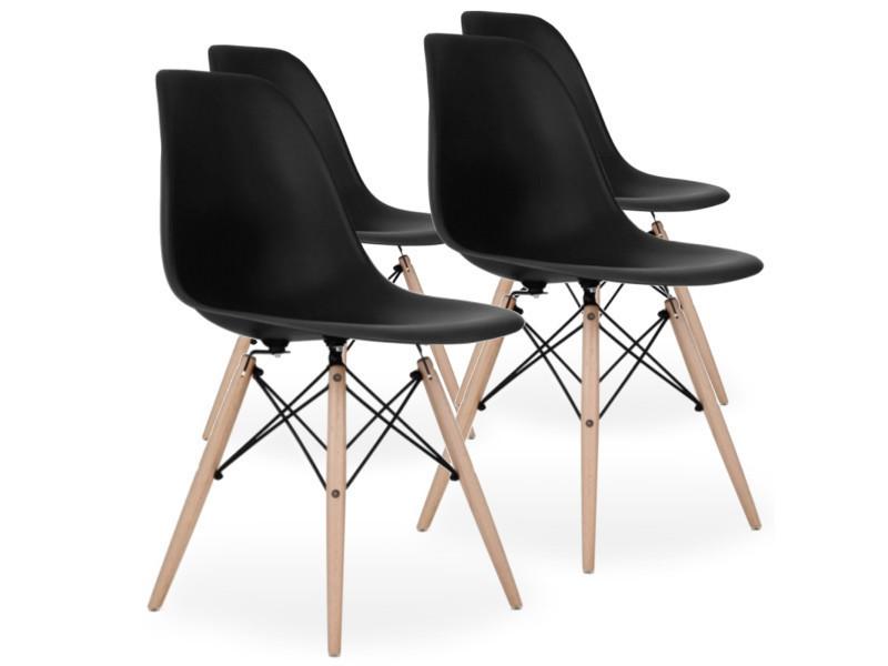 lot de 4 chaises scandinaves noires style eiffel