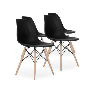 lot de 4 chaises scandinaves noires style eiffel f70448601