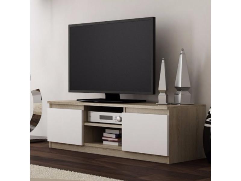 meuble tv banc tv clino 120 cm effet chene blanc style contemporain