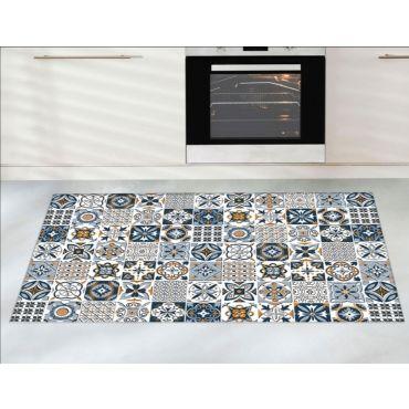 tapis trendy carreaux de ciment bleu dimensions 50 x 80 cm couleur bleu i22624634