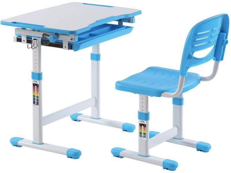 ensemble bureau et chaise pour enfant reglable en hauteur avec plateau inclinable coloris bleu p 21700 co c rocher vente de comforium conforama