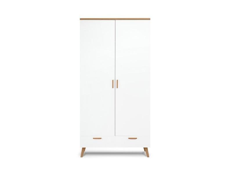 frili armoire style scandinave chambre entree salon 100x195x58 cm barre de penderie 1 tiroir meuble de rangement blanc chene