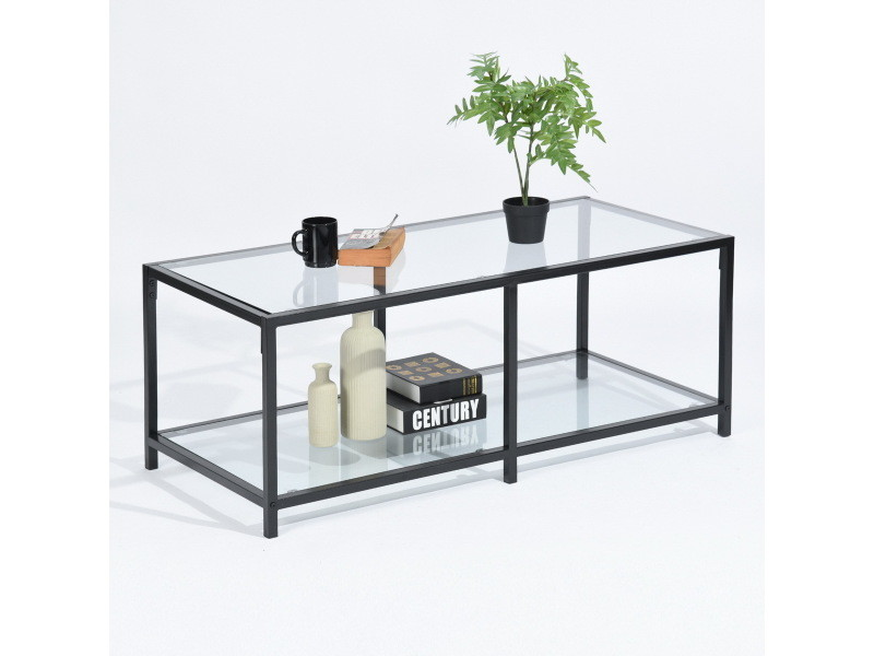 table basse rectangulaire 2 couches verre metal noir