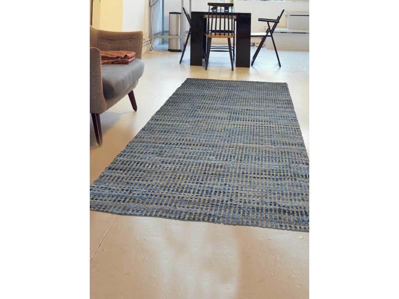 tapis pour salon denim jute et coton bleu 60 x 110 cm