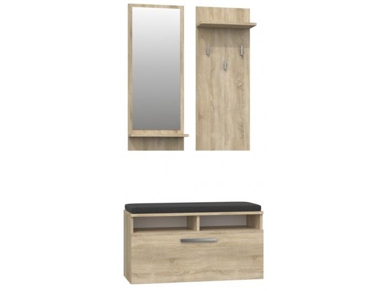anders meuble d entree contemporain avec coussin 85x46x35 cm banc de rangement a chaussures avec miroir sonoma