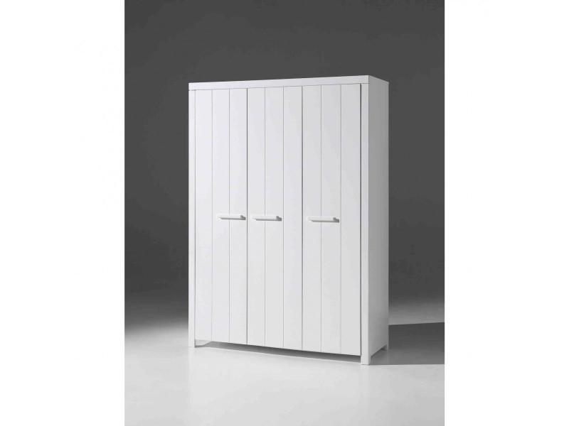 armoire 3 portes enfant blanche largeur 144 cm terre de nuit