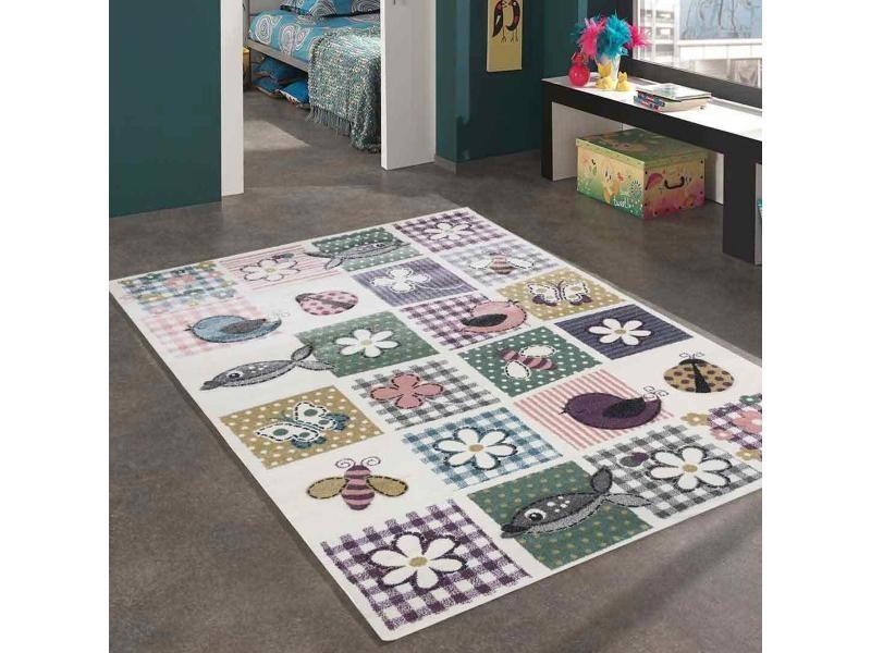 tapis enfant 120x170 cm rectangulaire wentone animaux multicolore chambre adapte au chauffage par le sol
