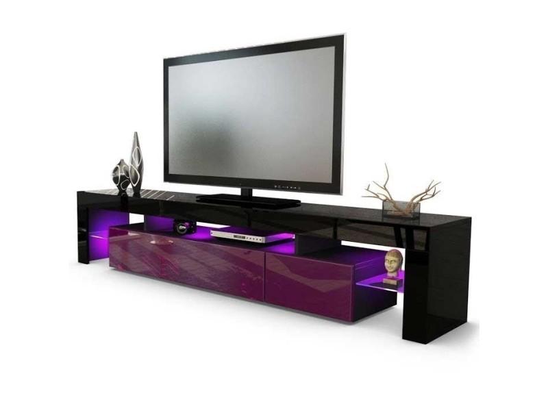 meuble tv noir et violet 189 cm avec led