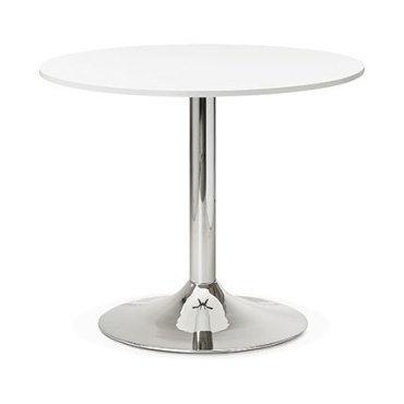 table ronde 90x77 cm blanc et pied