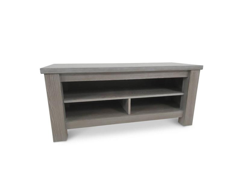 meuble tv 3 niches bois massif gris gabriel l 120 x l 45 x h 54 neuf