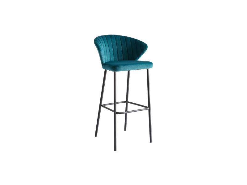 tabouret de bar design velours bleu petrole 75cm dally