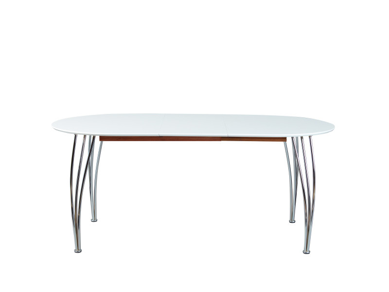 table a manger extensible ovali blanc laque mat pieds metal