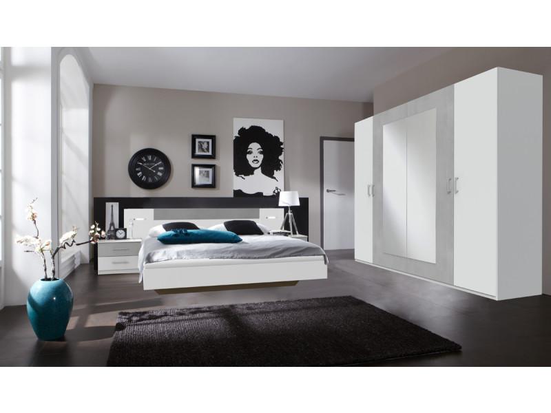 ensemble chambre adulte en blanc rechampis teinte beton gris clair 160 x 200 cm pegane