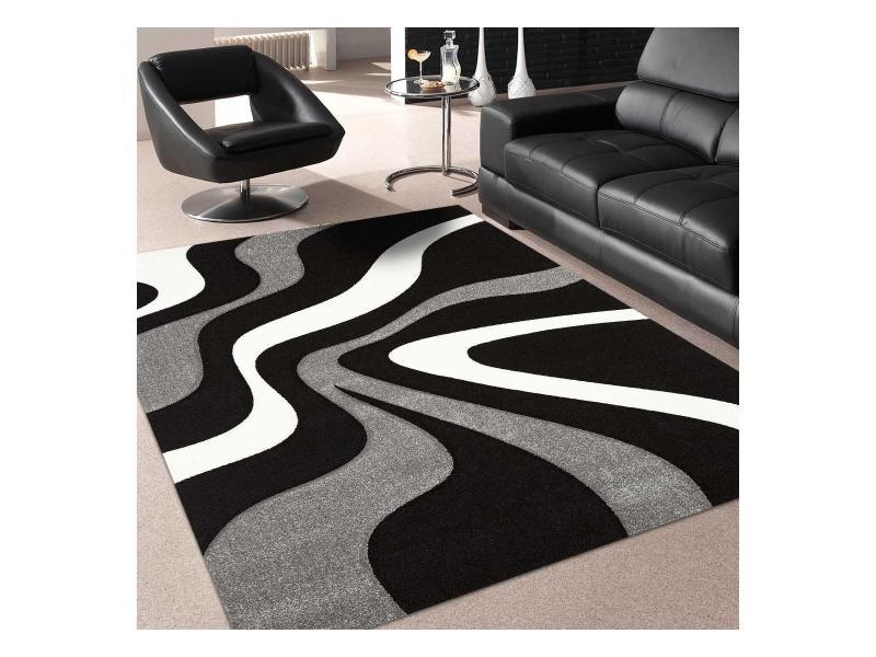 tapis design et moderne 120x170 cm rectangulaire nodage gris salon adapte au chauffage par le sol