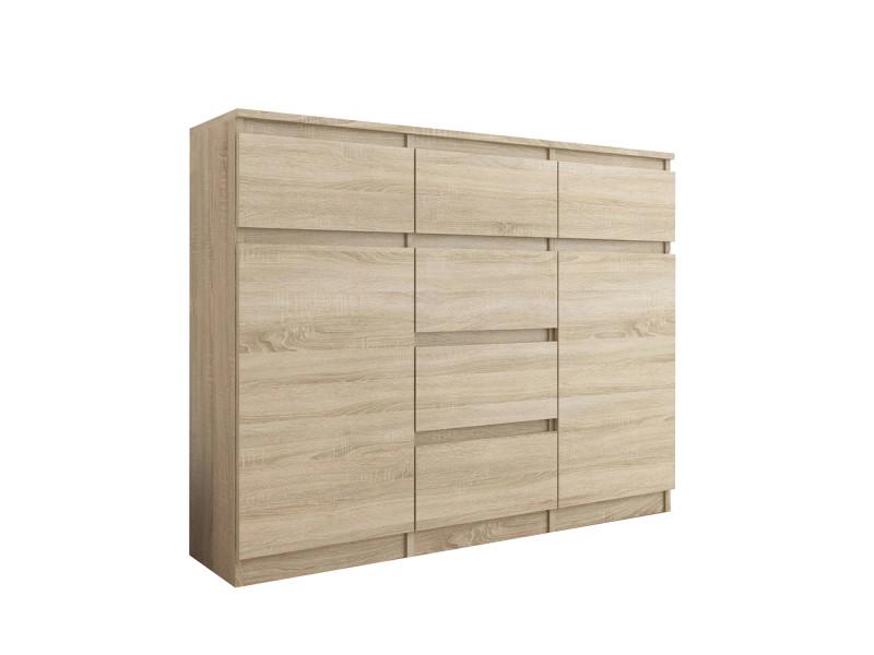 monaco commode contemporaine 120x40x98 cm meuble rangement chambre salon bureau6 tiroirs coulissants 2 portes buffet sejour sonoma
