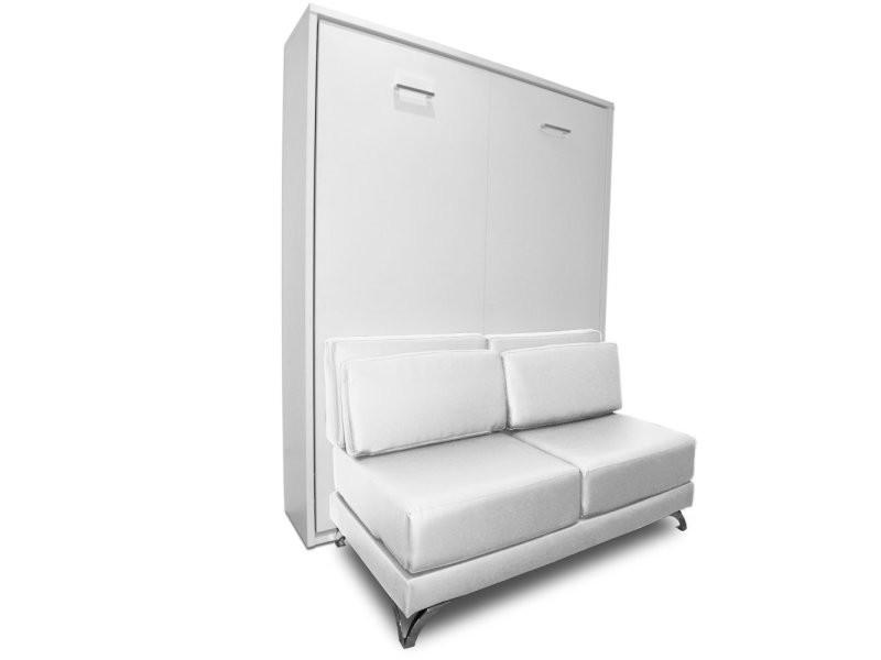 armoire lit escamotable town canape blanc integre couchage 140 200cm 20100875794 vente de armoire conforama