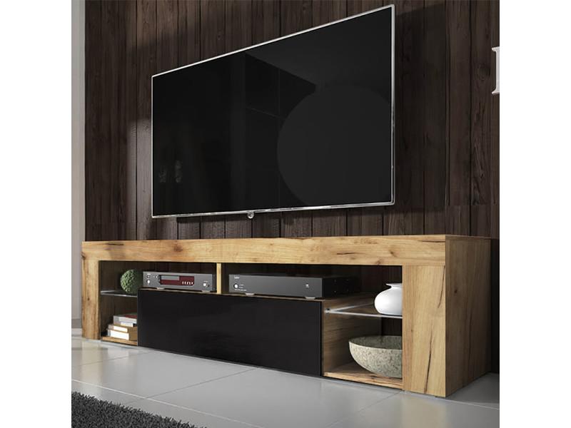 meuble tv banc tv bianko 140 cm chene lancaster noir brillant