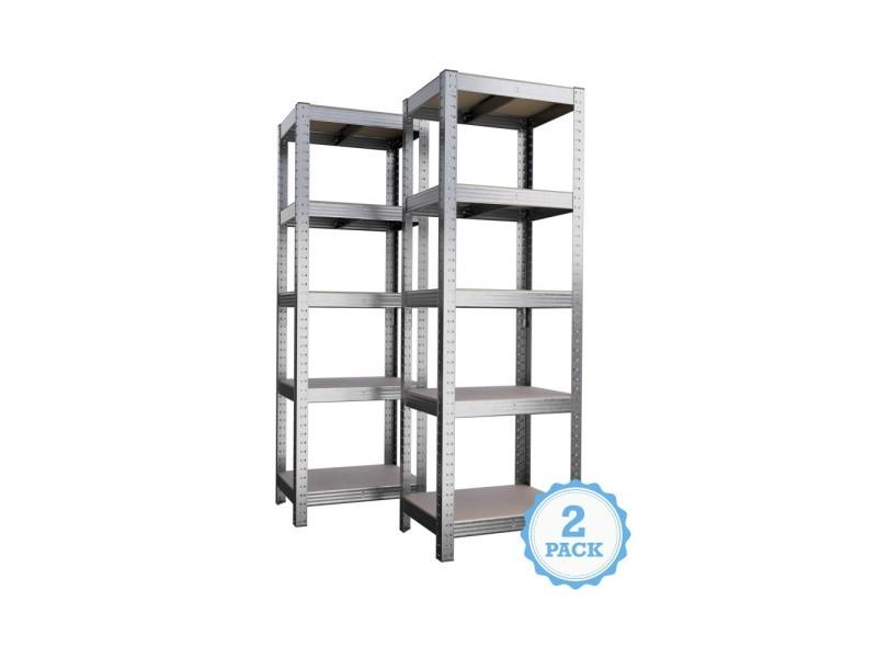 etagere de rangement polyvalente en metal lot de 2 charge lourde max 875kg 180 x 60 x 45 cm gris