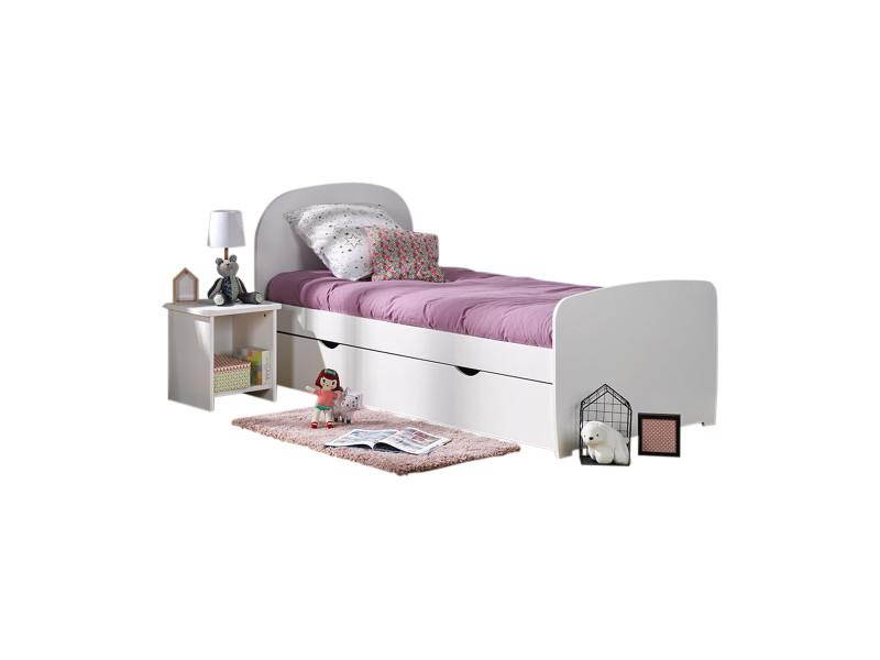 pack lit avec sommier et matelas lois blanc 90x190 cm