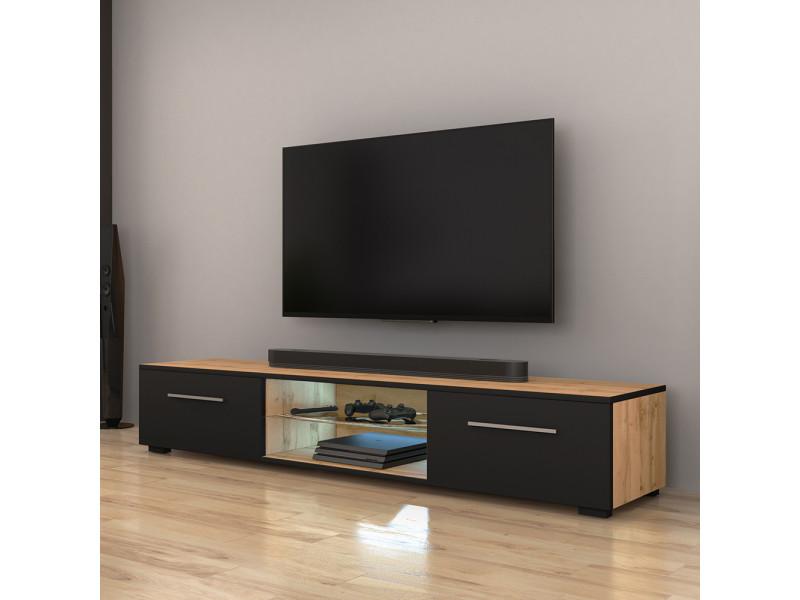 meuble tv syvis 140 cm chene wotan noir mat led