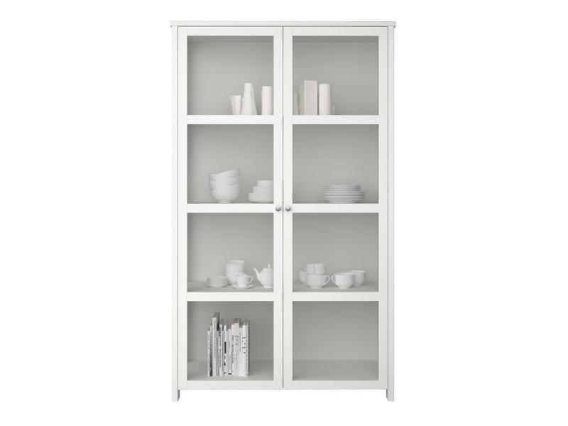 meuble vitrine coloris extra blanc 209 5 x 124 5 x 47 5 cm pegane