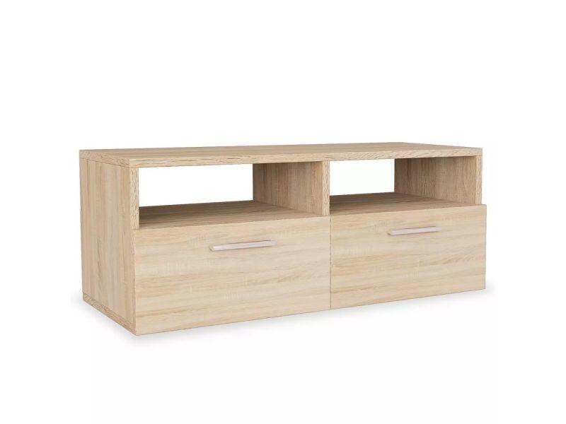 icaverne meubles audio video et pour home cinema gamme meuble tv agglomere 95 x 35 x 36 cm chene