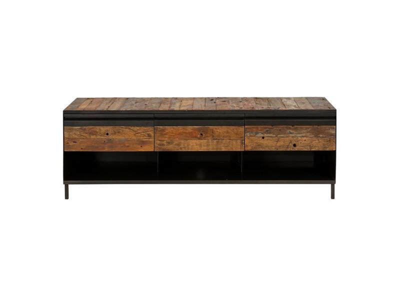 meuble tv fer bois 3 tiroirs 3 niches houston l 160 x l 45 x h 55 neuf