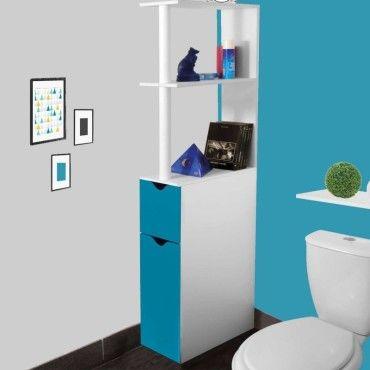 Meuble Wc Etagere Bois Gain De Place Pour Toilette 2 Portes Bleues Vente De Id Market Conforama