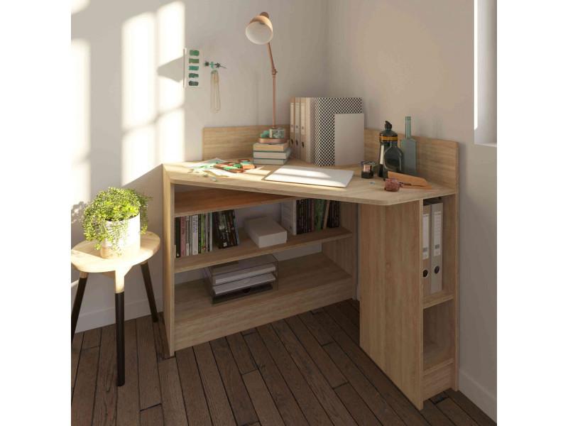 bureau d angle en bois imitation naturel avec niche de rangement bu6010