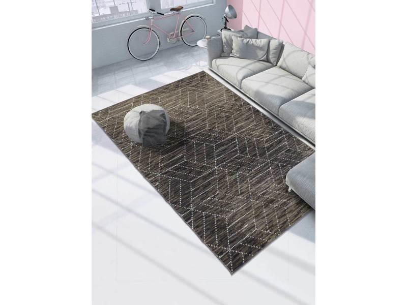 tapis moderne pour salon af geoline marron 80 x 150 cm