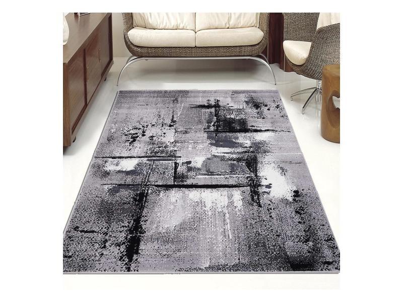 tapis design et moderne 120x170 cm rectangulaire af tablo gris salon adapte au chauffage par le sol