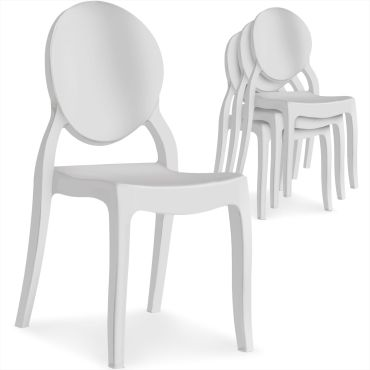 lot de 4 chaises medaillon diva blanc