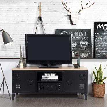 meuble tv bois metal avec 1 niche 2