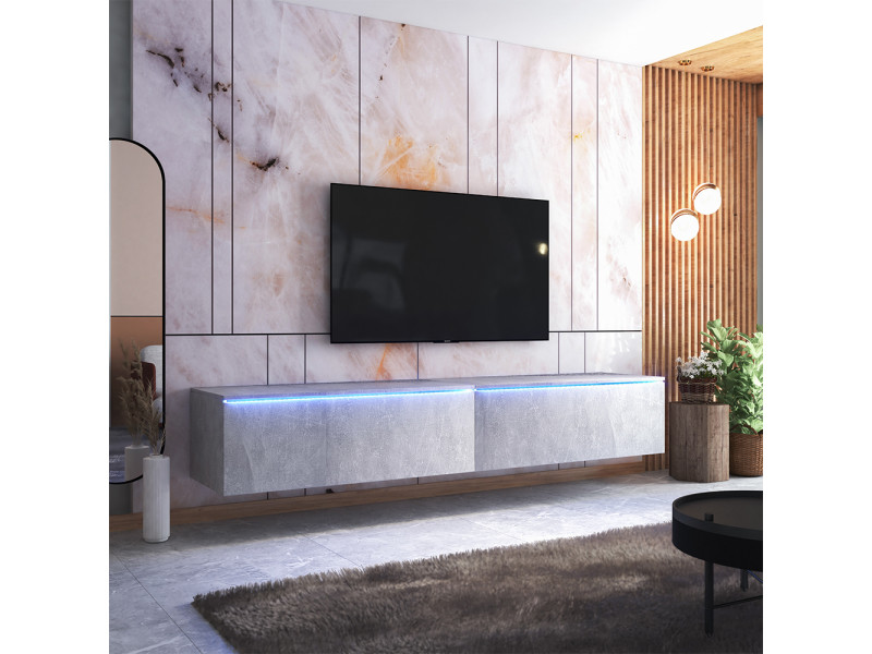 meuble tv skylara 200 cm beton avec led