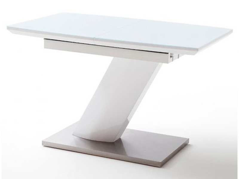 table extensible design coloris blanc brillant l 120 160 x h 76 x p 80 cm pegane