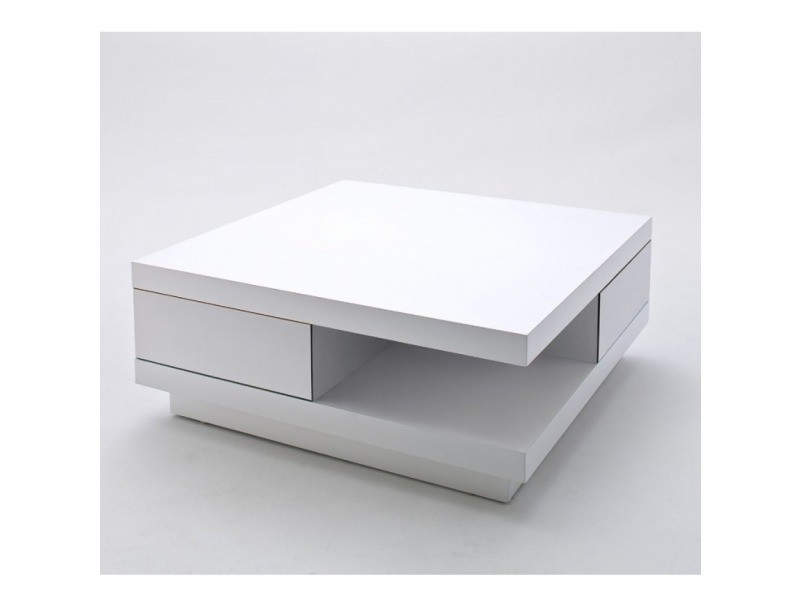 table basse carree albi finition laquee blanc brillant 2 tiroirs