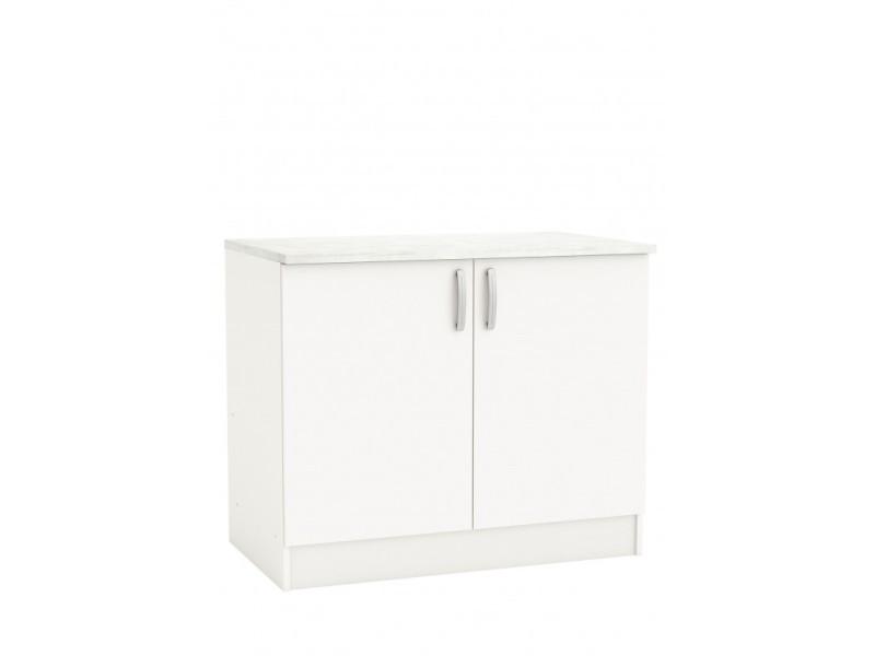 meuble bas blanc sous evier 100 cm mammy