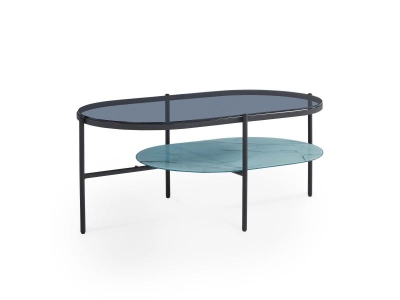 table basse ovale en verre et metal noir brewen