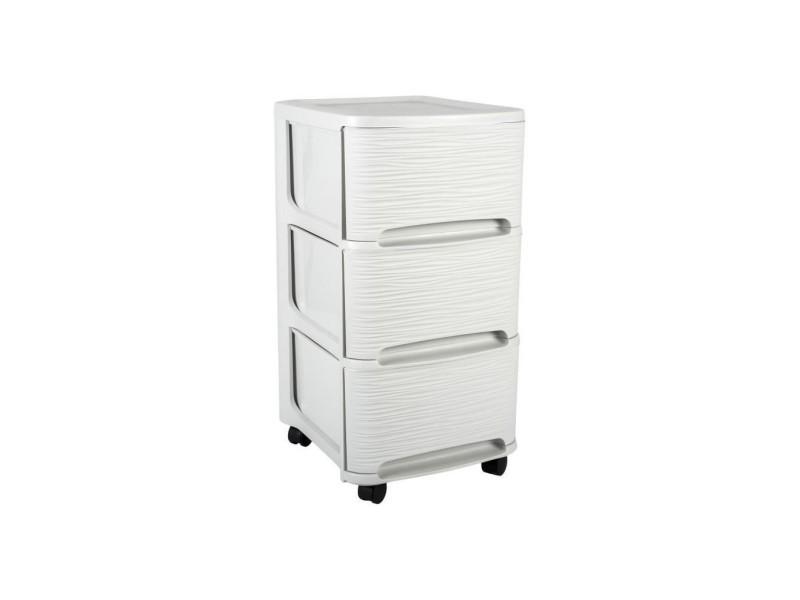eda plastique tour de rangement 3 tiroirs 14 l decor stone avec roulettes blanc ceruse 32 x 37 x 61 cm