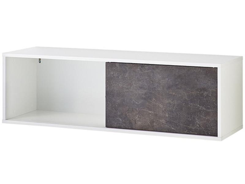etagere murale a porte coulissante coloris blanc basalto sombre dim l120 x h37 x p36 cm pegane