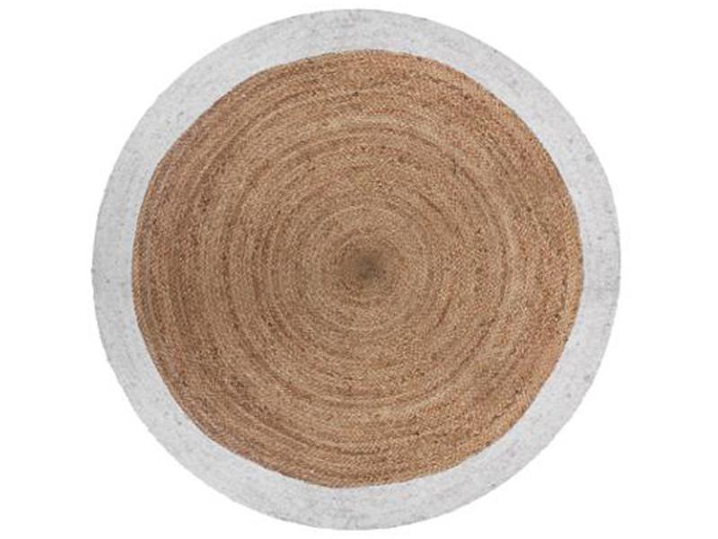 tapis rond en jute et coton coloris marron blanc diametre 120 cm pegane