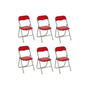 lot de 6 chaises pliantes rouge g62840066