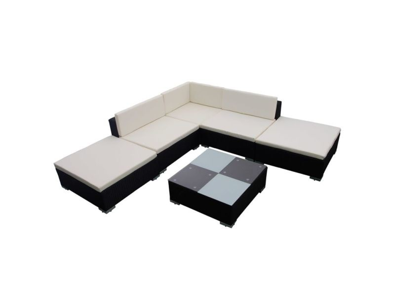 icaverne ensembles de meubles d exterieur categorie jeu de meuble de jardin 15 pcs noir resine tressee