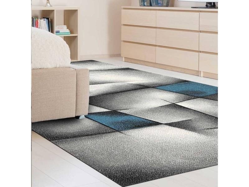 tapis salon moderne de createur parlak 3d bleu gris noir 80 x 150 cm