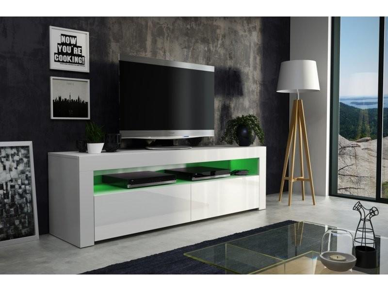 meuble tv savelli led blanc mat et portes blanc laque 157 cm