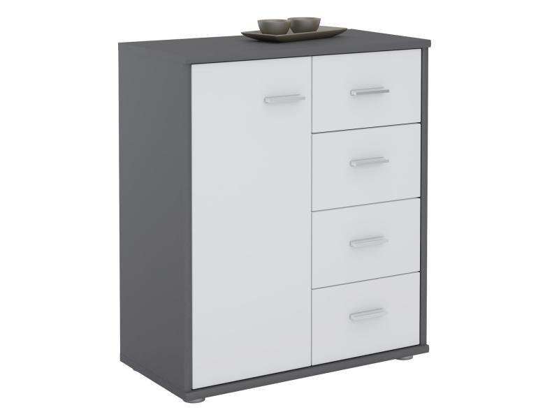 buffet oscar commode meuble de rangement avec 4 tiroirs et 1 porte en melamine gris mat et blanc mat